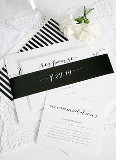 Elegant Wedding Invitation  Black White by ShineInvitations