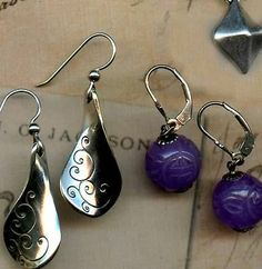 Earrings 4 Pairs Vintage Southwest Sterling Fossil Lavender Jade Dragon Beads | eBay