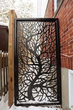 Garden Fence Art, Metal Garden Gates, Garden Fence Panels, Backyard Fences, Fence Design, Door Design, Custom Gates, Decorative Screens, Outdoor Living