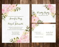 Bold Bohemian Floral Wedding Invitation Set par papernpeonies
