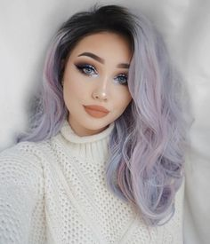 Coco Synthetic Lace Front Wig UniWigs Coco is new designed long curly pastel purple wigs in More and more girls want it now. Synthetic Lace Front Wigs, Synthetic Wigs, Purple Wig, Pastel Purple, Purple Gray, Natural Waves Hair, Long Wigs, Curly Wigs, Hair Wigs