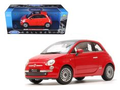2007 Fiat 500 Red 1/18 Diecast Car Model by Welly - Brand new 1:18 scale diecast car model of 2007 Fiat 500 Red die cast car by Welly. Brand new box. Rubber tires. Has steerable wheels. Detailed interior, exterior. Has opening hood, doors and trunk. Made of diecast with some plastic parts. Dimensions approximately L-7, W-3.5, H-3.5 inches. Please note that manufacturer may change packing box at anytime. Product will stay exactly the same.-Weight: 4. Height: 8. Width: 15. Box Weight: 4. Box…