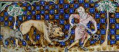 Psaultier de la Reine Marie (Isabelle de France) Royal MS 2 B VII 78r Calendrier Juillet pour le symbole zodiacal du Lion. (1310-1320)