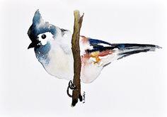 ORIGINAL Watercolor bird Painting Neutral colors by ArtCornerShop, $38.00