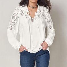 Top Blusas Celmia Women Sexy V Neck Hollow Out Long Sleeve Lace Up Solid Blouse Lace Patchwork Ol Work Shirt White Crochet Shirt, Crochet Lace, Crochet Summer, Irish Crochet, Crochet Mittens Free Pattern, Work Tops, Lace Insert, Summer Shirts, Plus Size Blouses