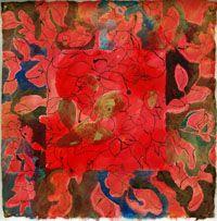 JEAN-JACQUES PICCIONE - Eros nudo IV, 2009, Olio, acrilico e inchiostro SU CARTA Coreana, 39 x 39 cm