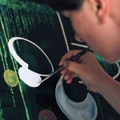 2015 - Hélène - #workinprogress #wip #painting #canvas #contemporaryart #green #bubbles #arianebaffie