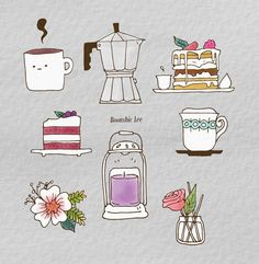 10번째 이미지 Cute Sketches, Cute Drawings, Creative Diary, Tea Illustration, Botanical Line Drawing, Illustrations And Posters, Doodle Art, Watercolor Paintings, Doodles