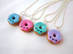 Donut Pendant Kawaii Polymer Clay Necklace by DoodieBear on Etsy, $9.00