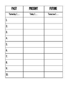 This is a simple chart for your kiddoes to use in their Writer's Notebook to practice verb tense--past, present, future. You supply the verbs to be used. I copy this at 85% to fit in composition books.