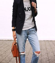 10 ways to wear distressed denim from Who What Wear. Ripped Knee Jeans, Striped Jacket, Striped Tops, Distressed Denim Jeans, Over 50 Womens Fashion, Outfit Combinations, Light Denim, Look Chic, Who What Wear