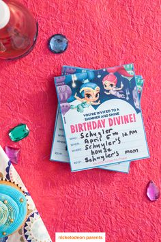 Shimmer and Shine, birthday divine!  Hosting a Shimmer and Shine birthday party for your preschooler? Kick off your party planning with these free printable genie-inspired invitations. Simply print, address, and mail them out to family and friends!