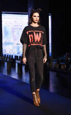 Grunge Goddess from Kendall Jenner's Best Outfits from Fashion Week Fall 2017  A little grunge never hurt no body.