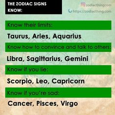 The zodiac signs know: