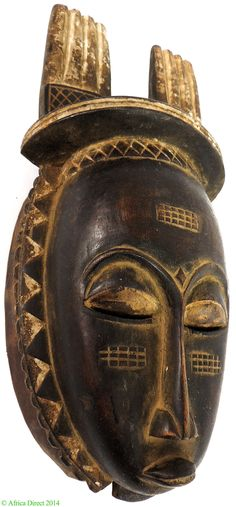 Yaure Baule Mask with Double Comb on Top Cote d'Ivoire Africa - Baule, Guro - African Masks