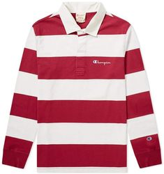 Buy the Champion Reverse Weave Stripe Rugby Shirt in Claret & White from leading mens fashion retailer END. - only Fast shipping on all latest Champion Reverse Weave products Vintage Rugby Shirts, Vintage Jerseys, Mens Fashion App, Mens Boots Fashion, Champion Clothing, Polo Rugby Shirt, Boys Summer Outfits, Teen Girl Fashion, Mens Trends