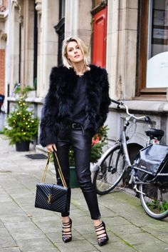 Sofie Valkiers wearing: Enes coat and leather, Louboutin shoes, Saint Laurent bag #StreetStyle