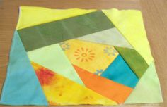 Crazy patchwork square - yellow