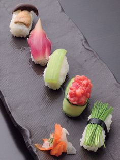 This is such a lovely take on sashimi! Vegan Sushi (From Top: Grilled Shimeji Mushroom, Japanese Myoga Ginger, Pickled Celery, Tomato Gunkan with Cucumber instead of Nori, Leek Sprouts)|ベジタリアン寿司 Sushi Recipes, Raw Food Recipes, Vegetarian Recipes, Healthy Recipes, Sushi Kunst, Japanese Food Sushi, Japanese Cucumber, Pickled Celery, Fast Food