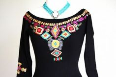 Brands :: Vintage Collection :: SPRING 2014 VINTAGE COLLECTION BLACK SALTILLO EMBROIDERED JEWELRY DRESS! - Native American Jewelry|Ladies We...http://www.cowgirlkim.com/cowgirl-brands/vintage-collection/black-saltillo-embroidered-jewelry-dress.html