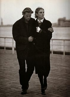 Marie Claire September 1994 | When A Woman Loves Menswear editorial featuring Bridget Hall and Mark Vanderloo photographed by Jacques Olivar, styled by Kate Moodie