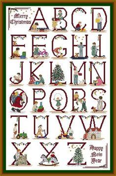 """Christmas Alphabet"" counted cross-stitch pattern by Cottage Needlecrafts. Christmas Cross Stitch Alphabet, Cross Stitch Alphabet Patterns, Cross Stitch Letters, Cross Stitch Designs, Stitch Patterns, Alphabet Charts, Sewing Patterns, Holiday Fonts, Small Cross Stitch"
