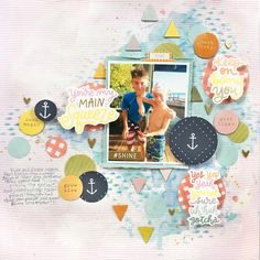 """Created for the Aug 2019 Peachy Cheap deal using Dear Lizzy """"It's All Good"""" collection. Main Squeeze, Scrapbook Layouts, Scrapbooking, Maine, Boyish, Chipboard, Projects, Collection, Inspiration"""