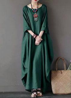 357ec188b04 Solid Long Sleeve Maxi Shift Dress Baggy Dresses