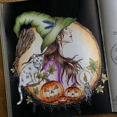 #hannakarlzon #tidevarv #coloringbook #coloring #adultcoloring #adultcoloringbook #fabercastell #pencils #hallowen #hexe #relax