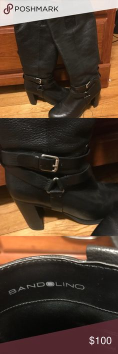BANDOLINO Leather Knee High Heeled Boots! IN GREAT CONDITION! possibly one or two small scuffs on bottom of show but otherwise almost perfect! Beautiful leather boots perfect for the upcoming fall season! Bandolino Shoes Heeled Boots