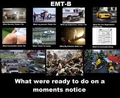 So true, especially the pictures of what paramedics and firefighters think we do