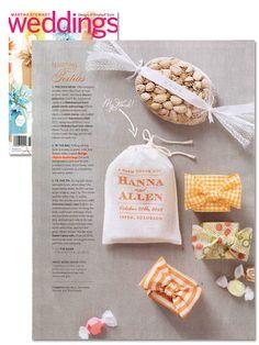Favor bag by @Rachel Wiles featured in @Martha Stewart Weddings Magazine