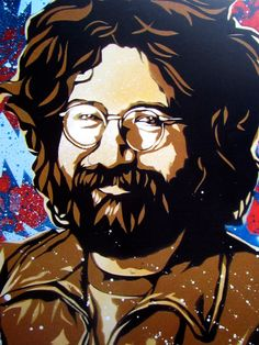 Jerry Garcia Stencil Art Print by taylorlindgrenart