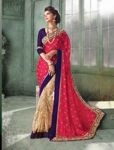 d3f4f9a57d Buy online Dynamic Pink & Cream Designer Saree & get Upto Rs 500 Cashback