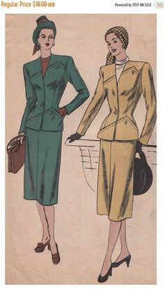 On Sale Vintage 1940s Womens Skirt Suit Vogue Sewing Pattern