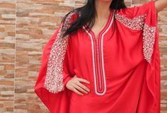 """A unique exclusive Caftan, Moroccan dress, totally handmade with """"strass"""" design and adorned with PEARLS.   made in 100 % SILK.long dress.UNIQUE."""
