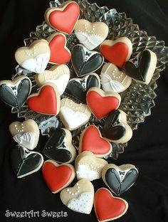 Wedding cookies Mini bride and groom heart by SweetArtSweets