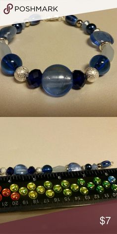 Blue Turquoise With Multi-Stone Beads Sterling Silver Overlay Necklace 17-18 Handmade Jewelry Nepali Work