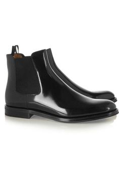 Heel measures approximately 25mm/ 1 inch Black polished-leather Pull on