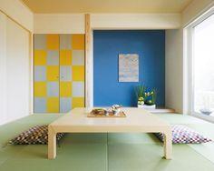 黄色、青を使っているから、ちょっとポップな雰囲気でこども部屋等に向いているかも。
