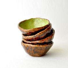 Hobbit Ceramic Tea Bowls  handmade ceramic cups in by GlazedOver, $34.00