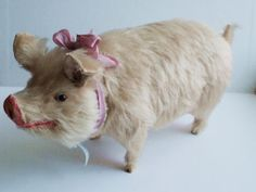 Antique Paper Mache and Mohair Pig Candy Box Container with Glass Eyes