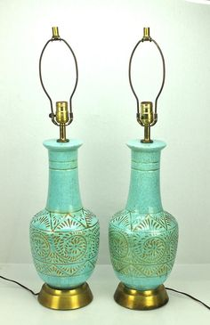 Mid Century vintage Turquoise Robin Egg Blue Gold Speckled Ceramic Table Lamps