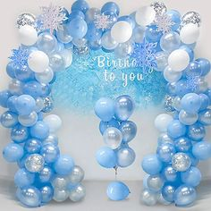 Amazon.com : adult balloon garland Frozen Decorations, Blue Party Decorations, Backdrop Decorations, Birthday Decorations, Frozen Balloons, White Balloons, Latex Balloons, Frozen Themed Birthday Party, First Birthday Party Themes