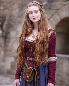 Abito medievale Gudrun, rosso blu. Vestiti medievali Abiti
