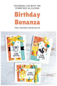 Watch as I show you how I use a sketch challenge to inspire multiple card layouts and a scrapbook page. All projects shown use the Birthday Bonanza Suite bun. Kids Birthday Cards, Handmade Birthday Cards, Greeting Cards Handmade, Card Tags, Card Kit, Kids Cards, Baby Cards, Animal Cards, Card Tutorials
