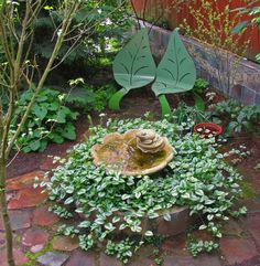 A two layered birdbath.plant spiller under water