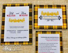 Scottish Family Tartan Wedding Invitation MacLeod Tartan but in navy blue