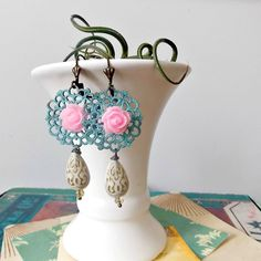 mori girl. patina filigree earrings with pink roses, cream gold teardrop beads, shabby chic, lolita, flirty, spanish design, flea market by FabFleaMarket on Etsy