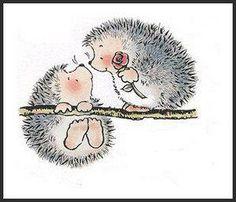 Hedgehog pair-Igel-Paar Who can resist a hedgehog? Hedgehog Art, Cute Hedgehog, Hedgehog Illustration, Cute Illustration, Penny Black Stamps, Digi Stamps, Cute Cartoon, Cute Drawings, Rock Art